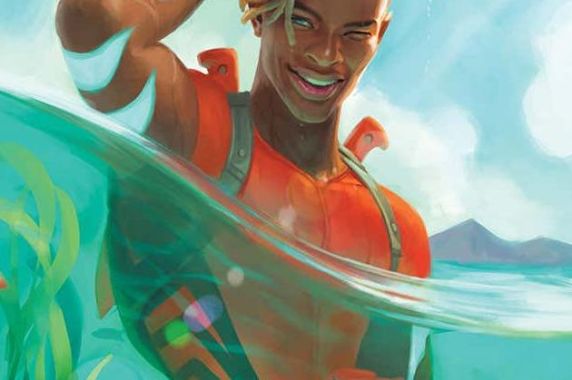 Aquaman: The Becoming #1 Cover Image Featuring Jackson Hyde swimming in the ocean slicking back his hair