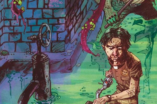 DC Horror Presents Soul Plumber #1 Cover Image featuring Edgar Wiggins and Elk walking through a sewer with tentacles hanging from the ceiling