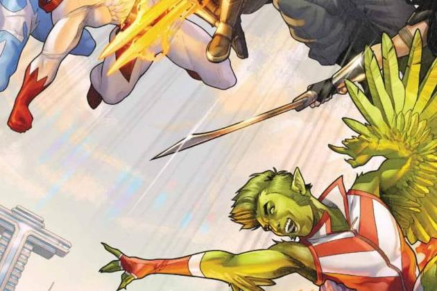 Titans United #1 Cover Image featuring the Titans leaping into action from the right of the page to the left in various action poses